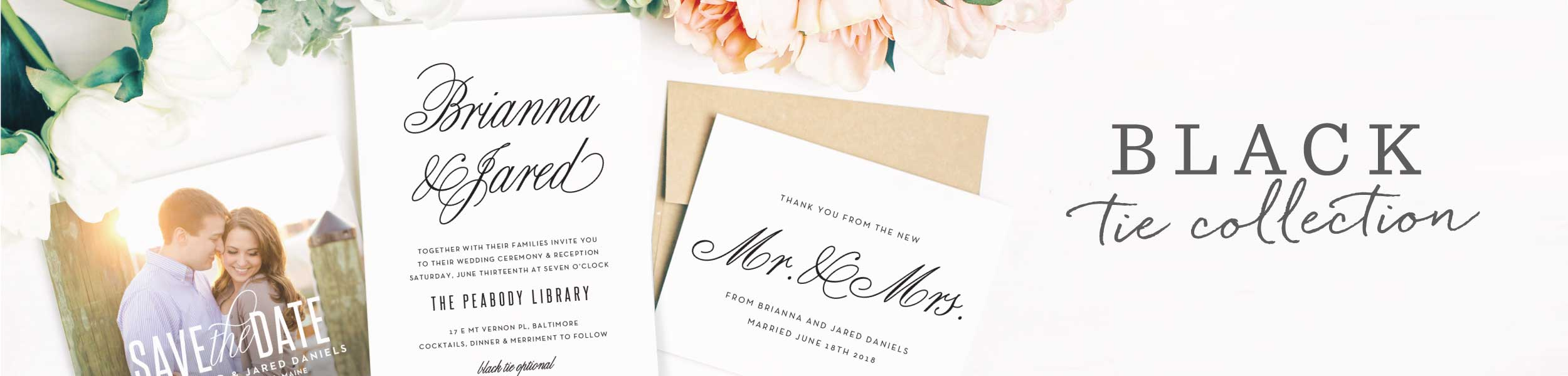 Typography Wedding Invitations | Basic Invite Black Tie Collection