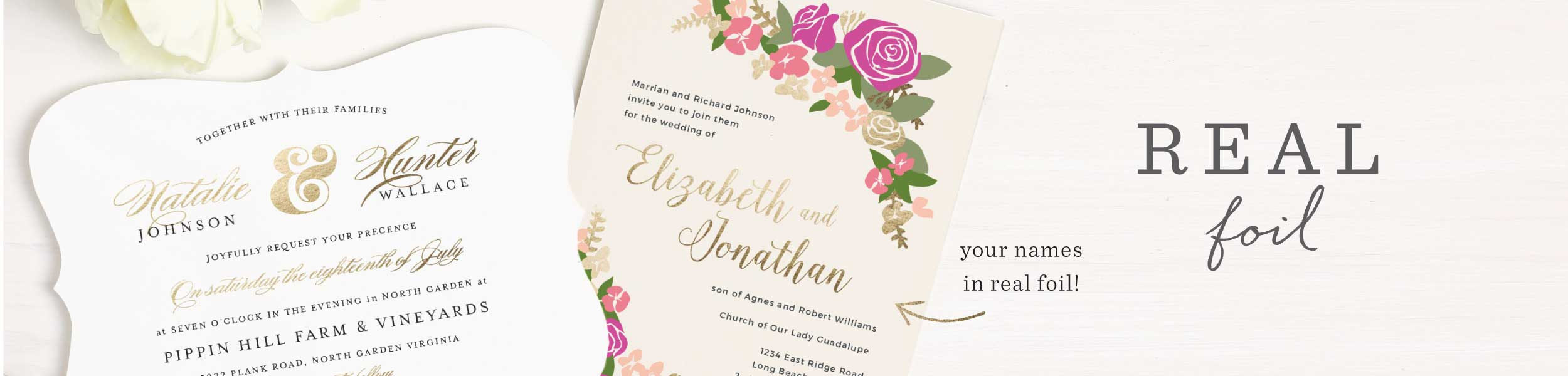 Foil Stamped Wedding Invitations | Gold, Silver & Rose Gold | Basic ...