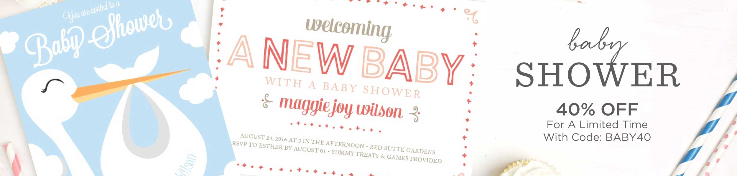 Baby Shower Invitations | 40% Off Super Cute Designs - Basic Invite