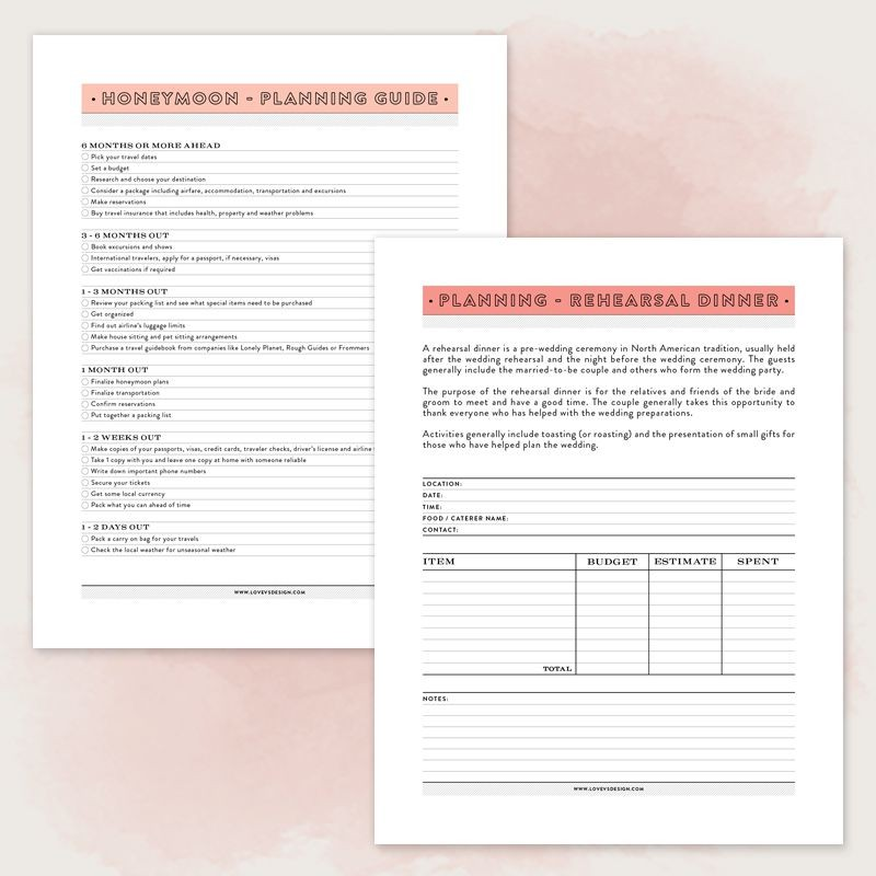 wedding planning guides free printable