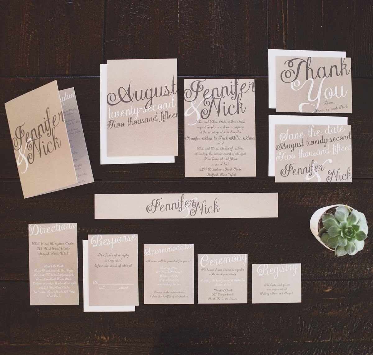 The Elegant Kraft Wedding Invitation