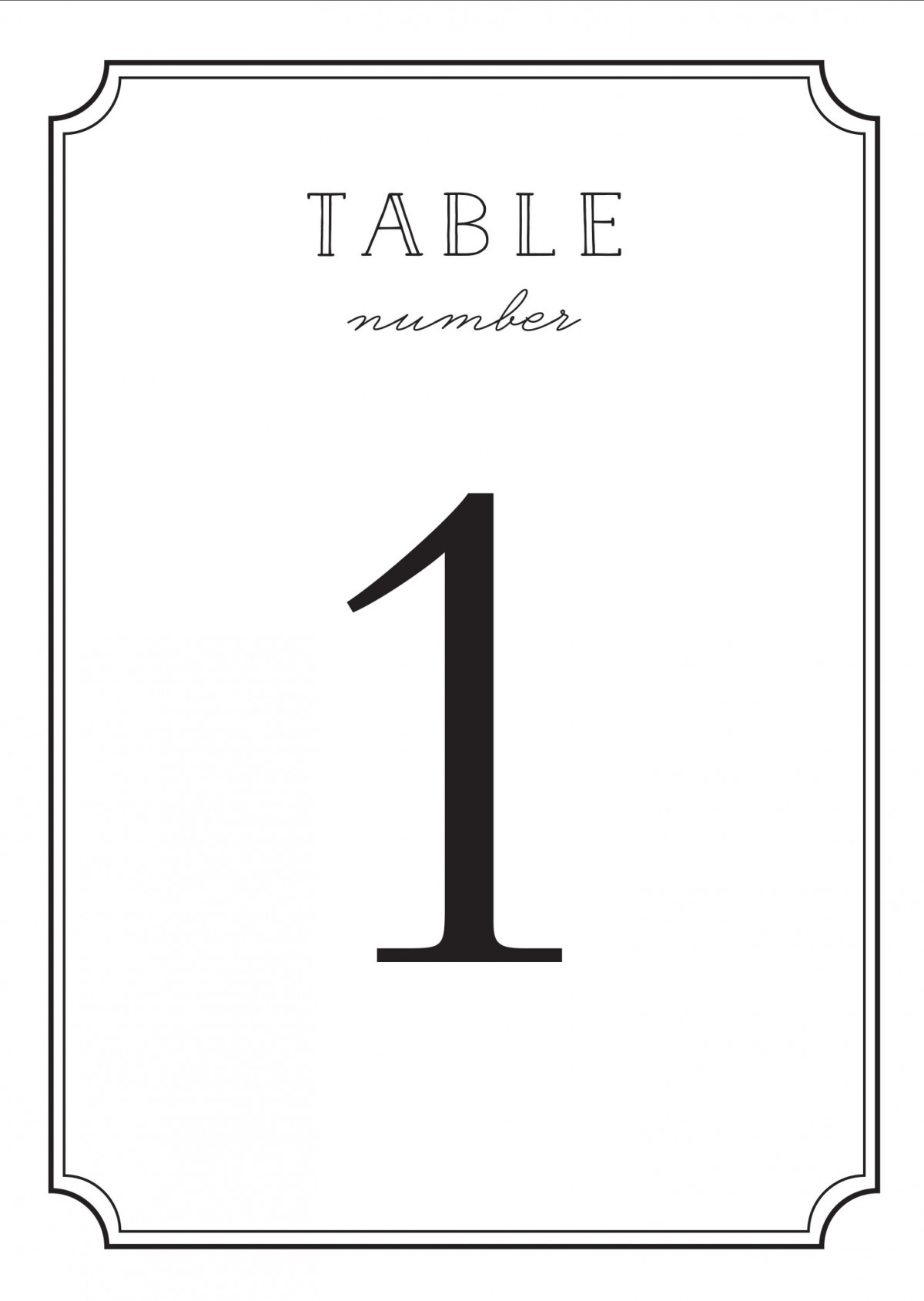 Type frame table number printables by basic invite for Table numbers