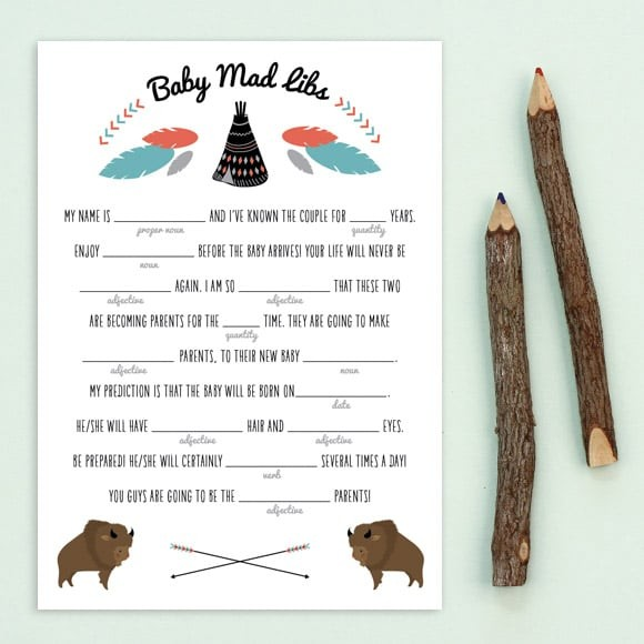 Teepee Mad Libs Printable
