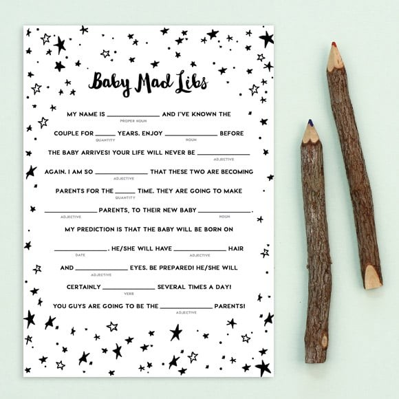 Twinkle Twinkle Baby Mad Libs