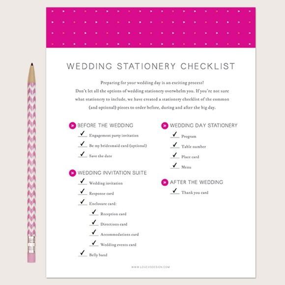 Wedding Stationery Checklist Printable