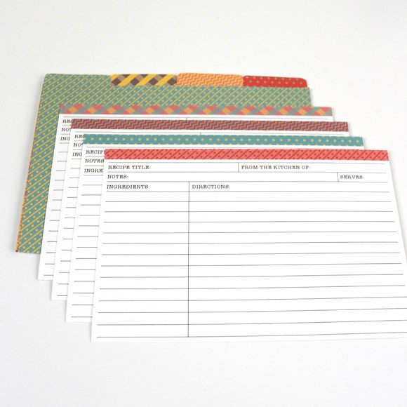 Matching 2 Recipe Cards with Dividers Printable