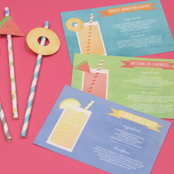 Cocktail Cards and Fruit Flags Printable