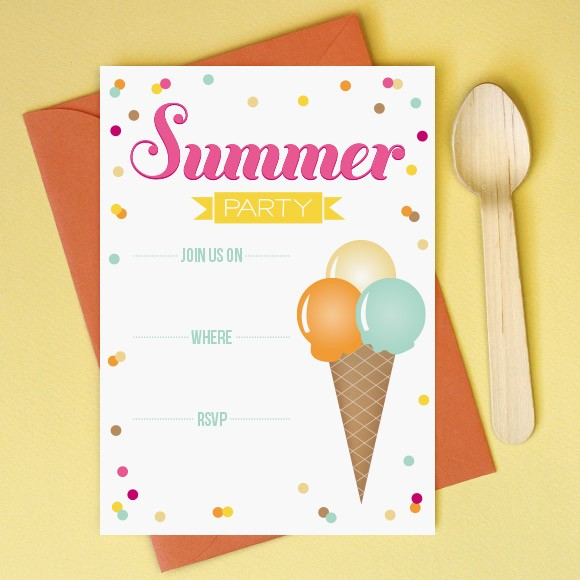 summer party invitation printable by basic invite