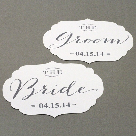 Bride and Groom Chair Signs  Printable