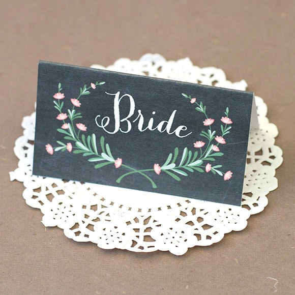 Bride and Groom Place Cards  Printable