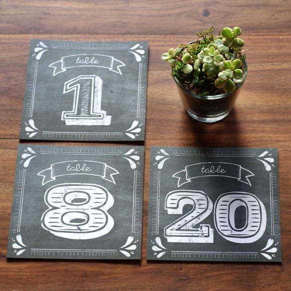 Rustic Chalkboard Table Numbers  Printable
