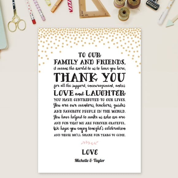 Gold Confetti Thank You Message Card