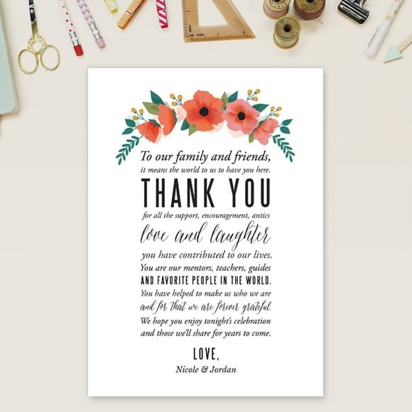 Watercolor Floral Thank You Message Card