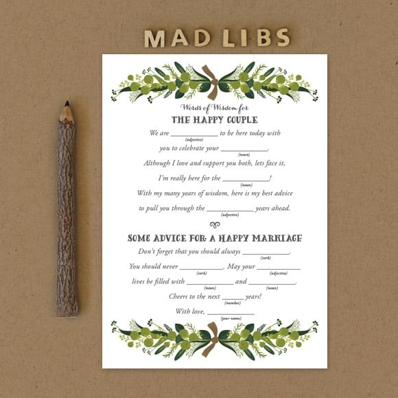 Romantic Wreath Mad Libs