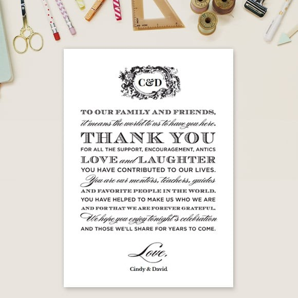 Style and Grace Thank You Message Card