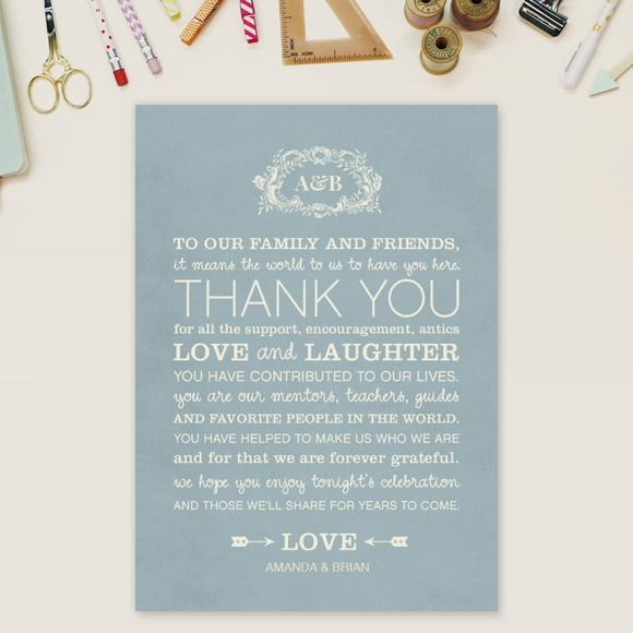 In Cursive Thank You Message Card