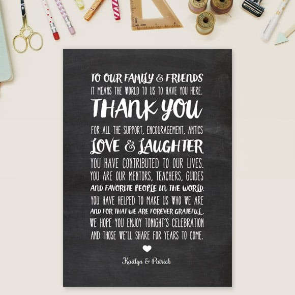 Chalkboard Writing Thank You Message Card