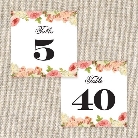 Alluring Florals Table Numbers