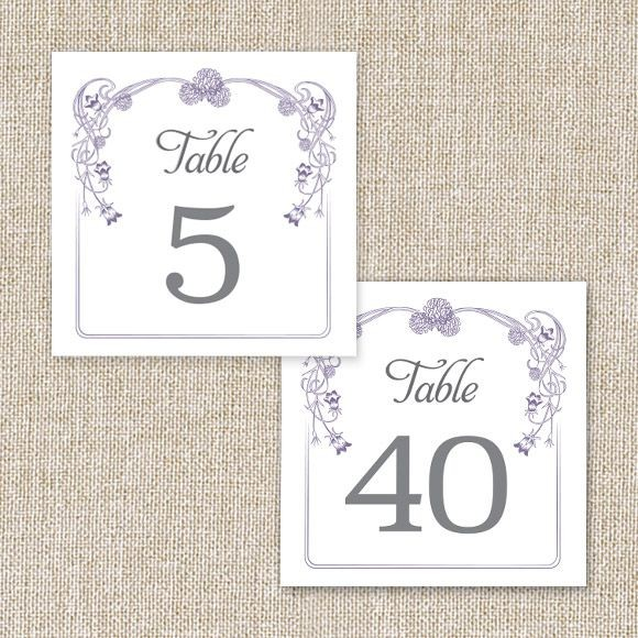 Floral Nouveau Table Numbers