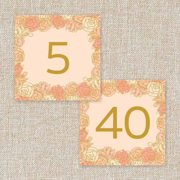 Elegant Blooms Table Numbers