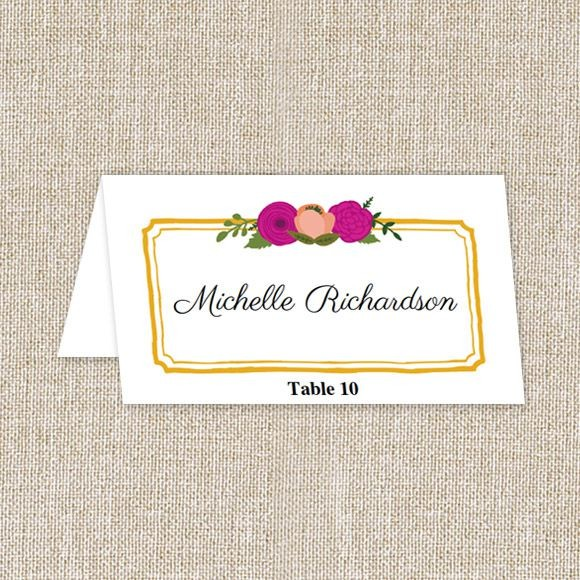 Bold Blooms Place Cards