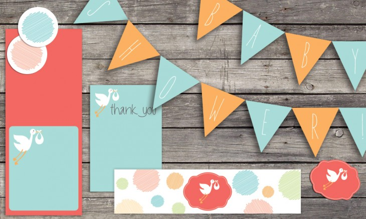 Stork Printable Baby Shower Set