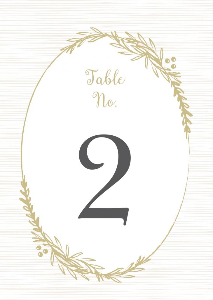 Delicate Laurel Table Numbers Printable