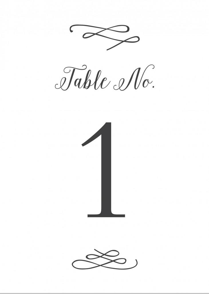 Whimsical Calligraphy Table Numbers Printable