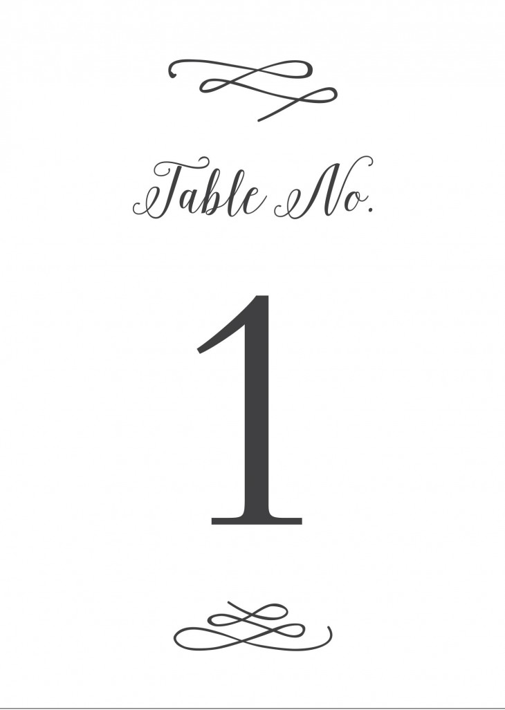 Whimsical Calligraphy Table Numbers Printable