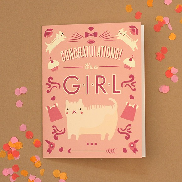 cat congratulations baby card printable by basic invite
