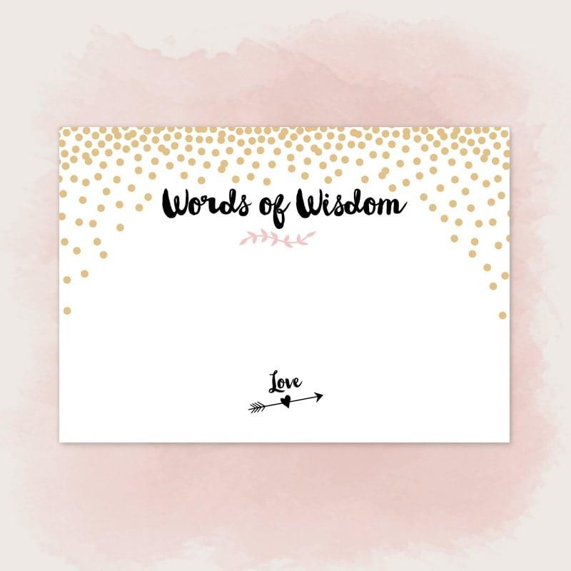 gold confetti words of wisdom by basic invite