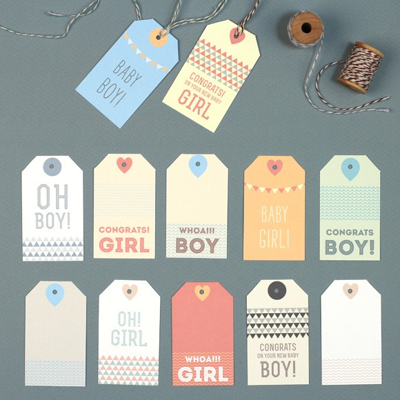 "Baby Gift Tags Size: 1 5/8"" x 3 7/8If you've been invited to a Baby Shower, these baby gift tags are perfect to use for your gifts! All 12 different colors and designs can be downloaded for free. Have fun!"