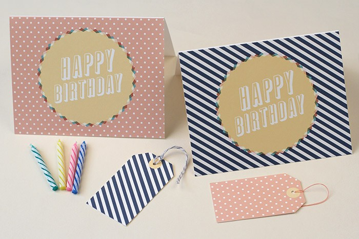 "Card size: 5.5"" x 4.25"" foldedTag size: 1 3/4"" x 3""Running out of time to buy a card? Give this printable Birthday Card to someone special for their birthday. Available to download and print in 2 color ways Dotted Blush or Striped Navy Blue. The templates are a single-fold design, so just cut around the outline and fold down the center! We recommend printing onto thick paper or cardstock."