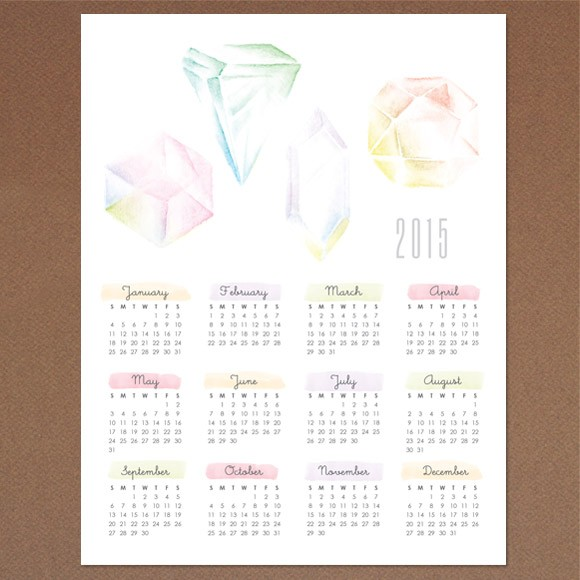 Gemstone Calendar 2015 Printable