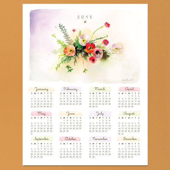 Watercolor Calendar 2015 Printable