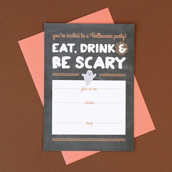 Halloween is only a few weeks away, time to start thinking about your costume, carving pumpkins, decorating, visiting haunted attractions, telling scary stories and watching horror movies! Whatever your plans are for Halloween this year, we've created a fun Halloween Party Invitation printable. The best thing is that this Halloween invite is editable! All you have to do is download the free Halloween invitation template, open the PDF in Adobe Acrobat and type in your party date, location and RSVP info. If you want to print these invites at home, we recommend using a thick paper card stock that your printer can handle. You can also save the PDF file and bring it to a local print shop to get them printed. This printable halloween party invitation will surely get friends and family thrilled about your upcoming bash!