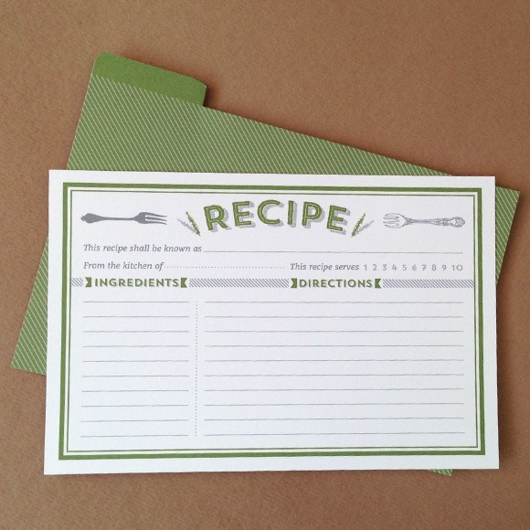 Classic Recipe Cards Printable