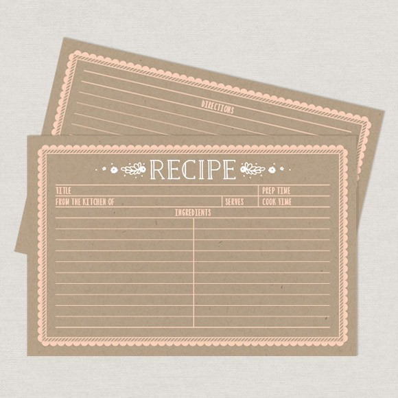 "These 4"" x 6"" recipe card printables can be filled out in Adobe Acrobat so you don't have to hand write them. These printable cards have a rustic and vintage feel that is sure to fit with any kitchen decor. Whether you're saving favorite cookie recipes, or planning a holiday feast, we hope this printable will inspire you to have some fun in the kitchen!This item includes 2 pages, 2 recipe cards per page, front and back.Please note, this file should be printed on white or cream stock, the kraft look is part of the background design. This is a Digital Item for you to print on your own, no recipe cards will be mailed to you. After you purchase this item, you'll receive a confirmation email. In this email click on the link ""Kraft Recipe Cards"" to instantly download your PDF."