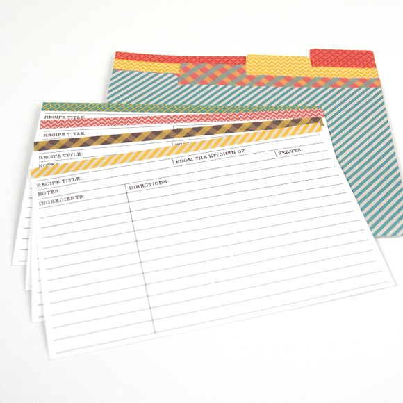 "Recipe Card Size: 6"" x 4"". These printable recipe cards also come with printable dividers that you can put in your recipe box. There are four different designs in this set, and they can be filled out before or after printing.The best part: these Recipe Cards are editable! Type out your recipes in Adobe Acrobat so you don't have to hand write them.This item includes 5 pages, 2 recipe cards per page in 4 colors, front and back and 4 different divider designs. This is a Digital Item for you to print on your own, no recipe cards will be mailed to you."