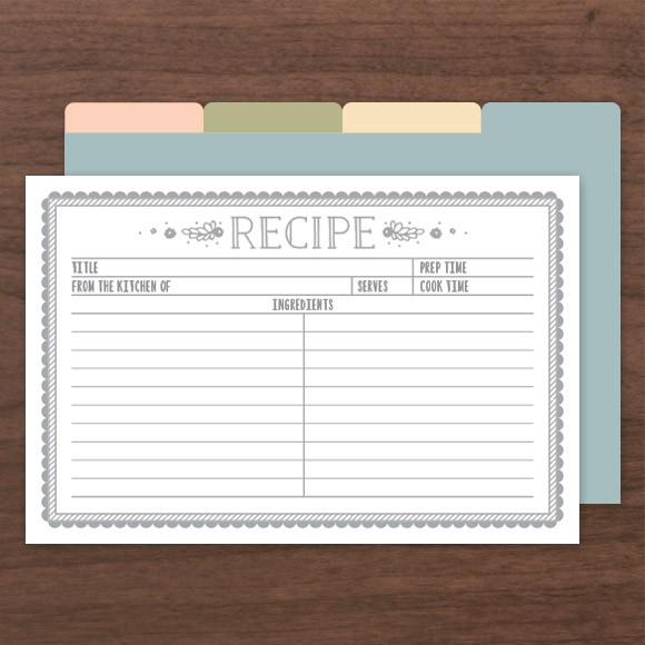 "These Recipe Cards can be filled out in Adobe Acrobat so you don't have to hand write them. Size: 4"" x 6"" 