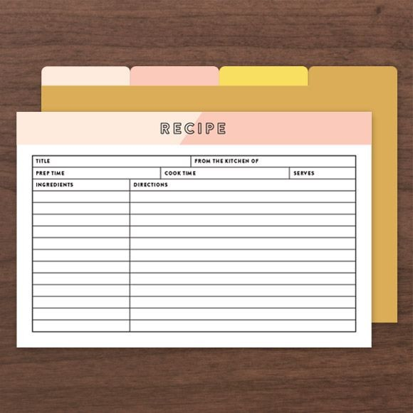 These Recipe Cards can be filled out in Adobe Acrobat so you don't have to hand write them. Size: 4