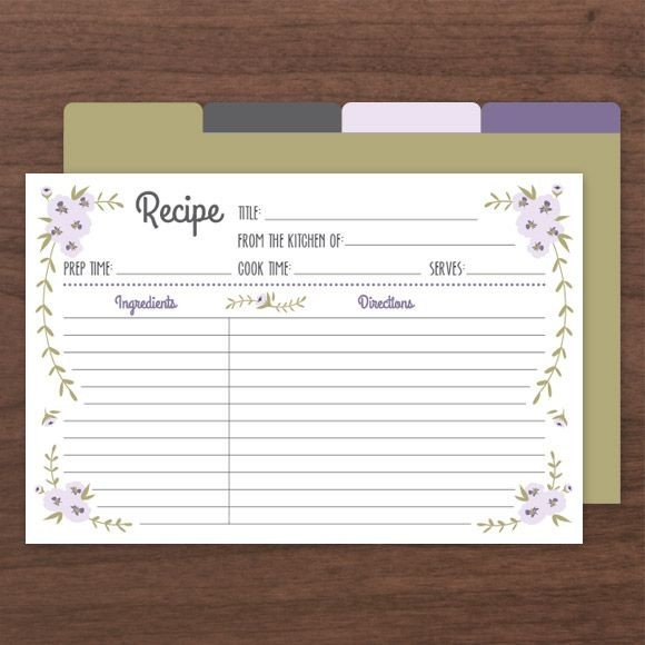 printable recipe cards pdf  instant download templates