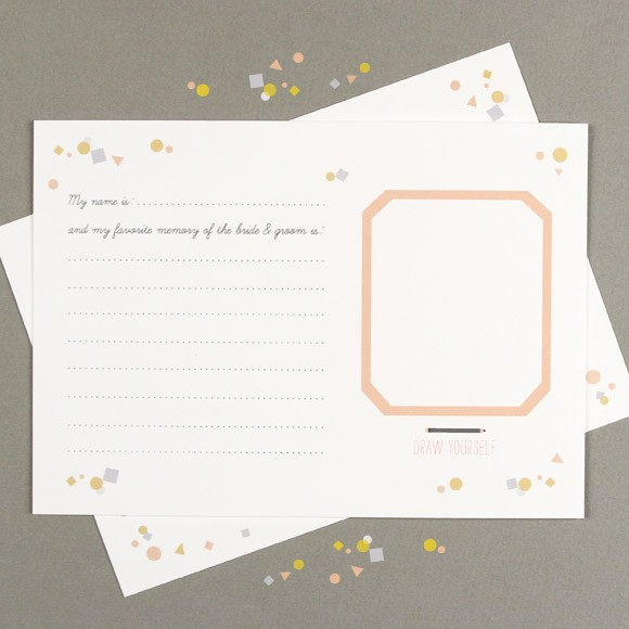 This Confetti Activity Sheet is a great way to engage your guests at your wedding reception, engagement party or bachelorette party. Not only will it be a fun, interactive activity for each of your guests, it will leave you with something fun to look back on after the festivities are over. The size of these cards is 5