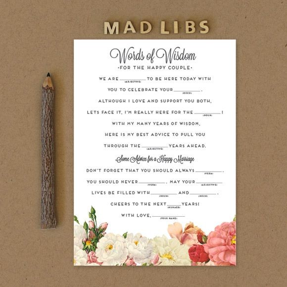 "Mad Libs are a fun activity for guests at any wedding event, such as an engagement party, bridal shower or bachelorette party. Wedding guests will surely be entertained while writing down their best advice. The couple will have a great keepsake item to read back on anniversaries or date nights. This 5"" x 7"" mad libs template is set up 2 on a page.This is a Digital Item for you to print on your own, no printed cards will be mailed to you. Here is a link to our printed Mad Libs.After you purchase this item, you'll receive a confirmation email. In this email click on the link ""Le Jardinier Mad Libs PDF"" to instantly download your PDF."