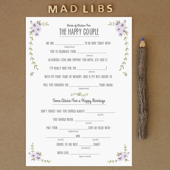 "Mad Libs are a fun activity for guests at any wedding event, such as an engagement party, bridal shower or bachelorette party. Wedding guests will surely be entertained while writing down their best advice. The couple will have a great keepsake item to read back on anniversaries or date nights. This 5"" x 7"" mad libs template is set up 2 on a page. This is a Digital Item for you to print on your own, no printed cards will be mailed to you.After you purchase this item, you'll receive a confirmation email. In this email click on the link ""Rustic Barn Mad Libs PDF"" to instantly download your PDF."