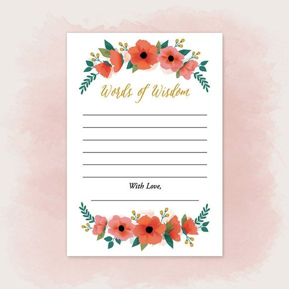 "These Words of Wisdom Cards can be used at your wedding, by placing a box with cards next to the guest book so guests can fill out the card when they sign the guest book. They can also be used at a Bridal Shower, Bachelorette Party, Engagement Party, Rehearsal Dinner, etc. The size is 4.875"" x 3.5"" 
