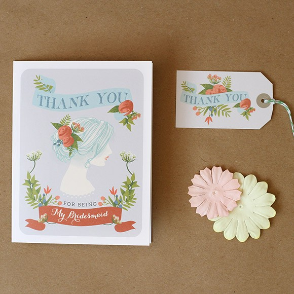 "Size: 5"" x 3 1/2""Light up the faces of your bridemaids with these hand drawn thank you cards with matching gift tags. These folded cards can be downloaded for free and printed at home."