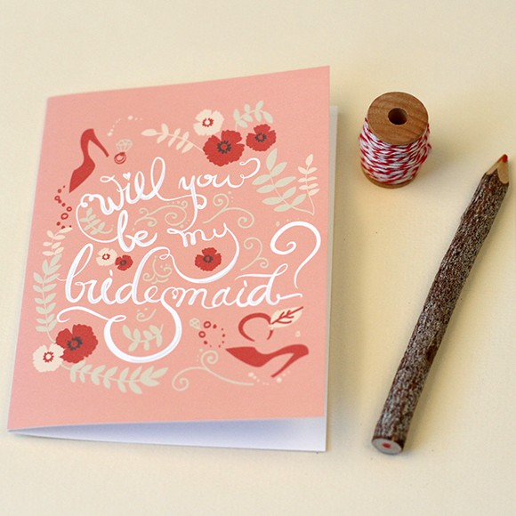 "Size: 5"" x 3 1/2""What better way to ask your future bridesmaids with this lovely handmade card with your message."