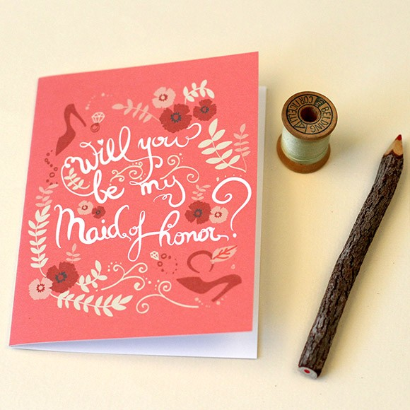 "Size: 5"" x 3 1/2""This lovely handmade card with your message with certainly light up the face of your Maid of Honor!"