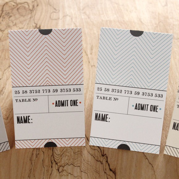 Ticket Place Card Folded Printable